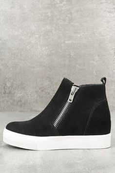 a375a1f8da2 Kick your street style OOTD up a notch with the Steve Madden Wedgie Black  Suede Leather