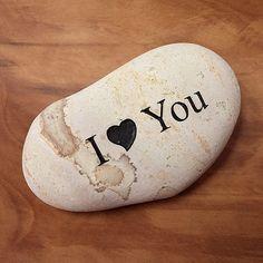 Engraved  Beach Pebble Message Stone - I Heart You