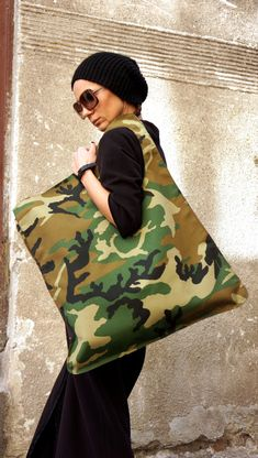 NEW Camouflage Military Pattern Bag / High Quality Hydrophobic Fabric Tote Asymmetrical Large Bag by AAKASHA A14171