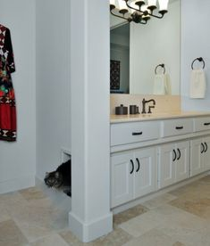 Your frisky feline enters from an opening on the other side of the wall, while you get to keep the cabinet doors shut unless you are cleaning. This diva likes to do her business and then sneak out her discreet private entrance.