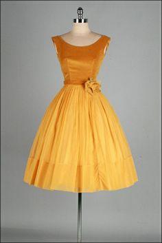 Vintage 1950's gold velvet and chiffon dress