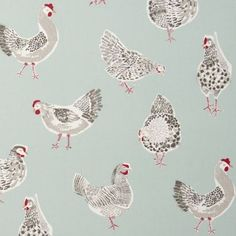 Clarke and Clarke Duckegg Rooster Design Curtain Upholstery Craft Fabric Pvc Fabric, Drapery Fabric, Denim Fabric, Childrens Curtains, Clarke And Clarke Fabric, Chicken Pattern, Curtain Material, Contemporary Fabric, Fabric Houses