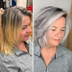 Hairdresser-Gray-Hair-Makeovers-Jack-Martin Grey Hair Transformation, Curly Hair Styles, Natural Hair Styles, Grey Hair Inspiration, Gray Hair Highlights, Grey Hair Lowlights, Transition To Gray Hair, Silver Hair, Dyed Hair