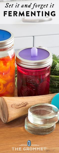 Screw this lid on a mason jar to enjoy good-for-the-gut ferments. It keeps air out and releases gases so you can set and forget it. The easiest way to get started fermenting foods.