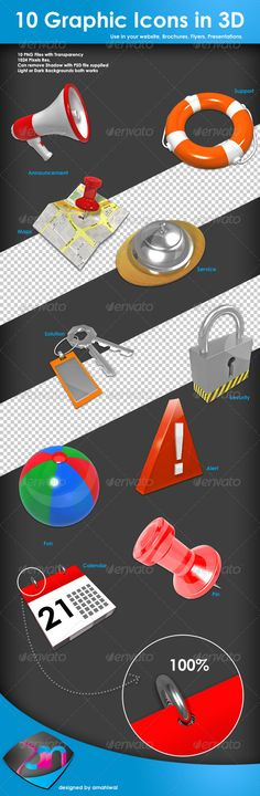 Get these 3D icon graphics to use and show awesomeness in your design projects, websites, brochures, flyers and anywhere. These a