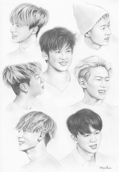 iKON fanart / Bobby (Jiwon) / B.I. (Hanbin) / Jay (Jinhwan) / June (Junhoe) / Song (Yunheong) / DK (Donghyuk) / Chanwoo Chanwoo Ikon, Hanbin, Ikon Wallpaper, Black Wallpaper, Ikon Kpop, Bts Rap Monster, Kpop Fanart, Korean Artist