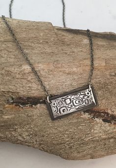 Handmade Sterling Silver Retro Necklace | Simple Bar Necklace & Pendant with Retro Design | Oxidized Silver Bar Necklace Metal Clay Jewelry