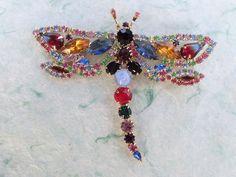 Vintage Dragonfly brooch colorful rhinestones figural AB837