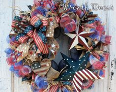 Patriotic Wreath / 4th of July Wreath Burlap / Fourth ofJuly