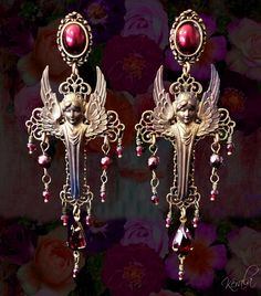 Genuine Garnet Gemstone Gothic Victorian Guardian Angel Earrings, Medieval Cross Chandelier Earring, Silver, Verdigris or Bronze, Pretty - Steam Design - Angel Earrings, Wing Earrings, Cross Earrings, Gothic Jewelry, Boho Jewelry, Handmade Jewelry, Jewelry Design, Jewelery, Garnet Gemstone