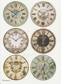 Rice Paper - Clocks - for Decoupage Scrapbook Craft Paper Clock, Paper Art, Paper Crafts, Clock Face Printable, Deco Stickers, Image Deco, Decoupage Glass, Images Vintage, Paperclay