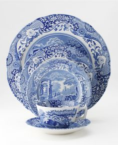 I love Blue Italian by Spode. Great mix of classic and whimsy. Blue And White China, Blue China, Love Blue, Blue And White Dinnerware, Blue Dinnerware, Royal Copenhagen, Delft, Royal Doulton, Blue Rooms