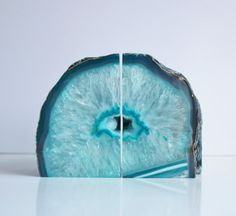 Agate Bookends Teal Pair by PureStoneworks on Etsy