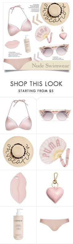 """Bare It All: Nude Swimwear"" by alinepinkskirt ❤ liked on Polyvore featuring Topshop, Jimmy Choo, August Hat, Puma, STELLA McCARTNEY, Gatineau and Whistle & Wolf"
