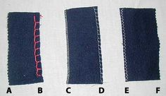 Blanket Edge Finshes - There are a variety of other ways you can finish off your blanket. Some of these include (A) Pinking sheers, (B) Hand sewn with blanket stitch, (C) Serger, (D) Decorative sewing machine stitch, (E) Zigzag stitch, (F) Another example of pinking sheers.