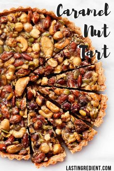 bites were crunchy and salty from the nuts, but then the caramel was wonderfully gooey and sweet. You can use pretty much any kind of nuts in the recipe. I even threw in some pumpkin seeds. Tart Recipes, Sweet Recipes, Cooking Recipes, Nut Tart Recipe, Sweet Pie, Sweet Tarts, Fun Desserts, Dessert Recipes, Dessert Tarts