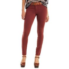 "Charlotte Russe Oxblood Refuge ""Skin Tight Legging"" Colored Skinny... ($30) ❤ liked on Polyvore featuring jeans, oxblood, skinny leg jeans, red skinny leg jeans, charlotte russe jeans, zipper denim jeans and denim jeans"