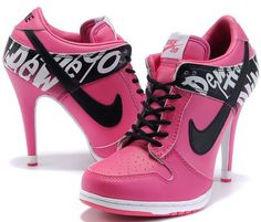 new style d1fae ff885 Womens Black and Hot Pink Nike High Heels Dunk SB Low High Heels Black, Low