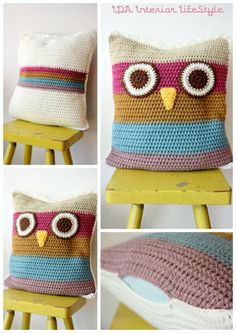 Cushowl -owl crochet cushion cover-. €38.00, via Etsy.  (I actually growled with cute when I saw this, says merrilyme).
