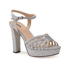 Pink by Paradox London Silver glitter platform 'Petra' sandal | Debenhams