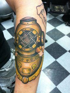 old school scuba diver tattoo - Google Search