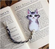 Bookmark -My Gray Cat - Glossy, laminated with Wool Yarn Tail. Fox Tails instead! After reading The Fantastic Mr. Creative Bookmarks, Cute Bookmarks, Bookmark Craft, Cat Crafts, Book Crafts, Paper Crafts, Watercolor Bookmarks, Book Markers, Book Making