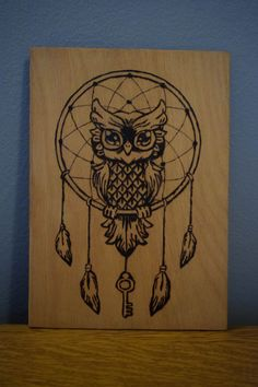 Owl pyrography