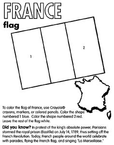 """Use Crayola® crayons, markers, or colored pencils to color the flag of France. Color the left stripe blue. Color (or leave) the middle stripe white, and color the right stripe red. Did you know? France is located in Western Europe. In protest of the king's absolute power, Parisians stormed the royal prison (Bastille) on July 14, 1789, thus setting off the French Revolution. Today, French people around the world celebrate that day with parades, flying the French flag, and singing """"La ..."""