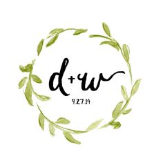 Customizable Floral Wreath Wedding Logo by StripedCatStudio