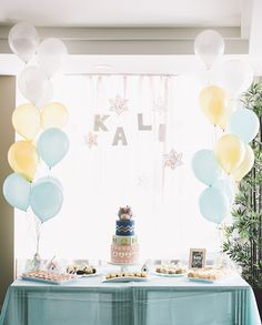 Love the delicate colors of the balloons — Winter Café Themed Birthday Party