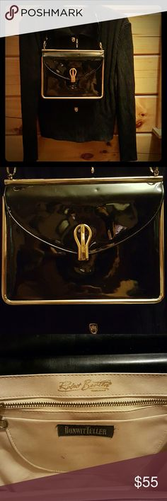 Vintage Robert Bestien Shoulder Bag The height of fashion and wealth in the 1950s was at Bonwit Teller. This black patent leather purse with gold tone accents was designed by Robert Bestien for Bonwit Teller. This is a true vintage original. It is in fantastic condition for it's age. I used it for my 50s themed pin up photoshoots, but I don't model anymore. The interior in cream leather. Opens to 3 inches, 1 zippered side pocket. A few marks on the interior. The exterior patent has a few…