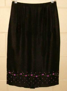 Ann Taylor Velvet Knee Length Pencil Skirt Silk Blend Brown Pink Beading Size 2