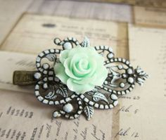 Mint Green Hair Accessories  Mint Hair Clip Rose by Jewelsalem, $9.99