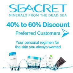 Save 40% to 60% on #Seacret Dead Sea minerals when you enroll as preferred customer! Refer 4 people as a preferred customer and your products are FREE.