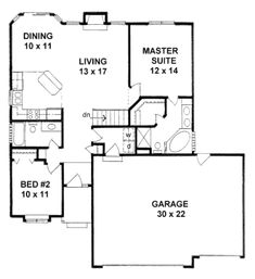 Traditional Style House Plan - 2 Beds 2.00 Baths 1112 Sq/Ft Plan #58-168 Floor Plan - Main Floor Plan