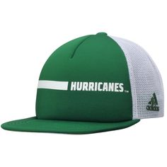 Buy Men s adidas Green Miami Hurricanes Sideline Foam Front Trucker  Adjustable climalite Hat from the Official Miami Hurricanes Store. 261c19f7ab32