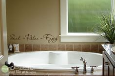 Soak Relax Enjoy Bathroom Sayings Quote Vinyl Lettering Wall Words Stickers Decals 1758 by thestickerhut on Etsy