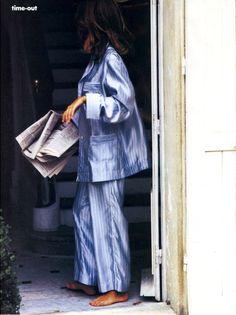 "supermodelobsession: "" Vogue US January 1991 ""Time-Out"" Model: Susan Holmes Photographer: Ellen von Unwerth Stylist: Grace Coddington "" Febbre, mal di stomaco…… oggi casa! Grace Coddington, Ellen Von Unwerth, Silk Pajamas, Pyjamas, Silk Pjs, Silk Suit, Susan Holmes, Pajama Day, Sleepwear & Loungewear"