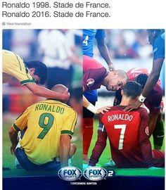 Oboje musieli opuścić boisko z powodu kontuzji • Mistrzostwa Świata 1998 i Euro 2016 • Ronaldo nie lubią Stade de France • Zobacz >> #ronaldo #cristianoronaldo #football #soccer #sports #pilkanozna