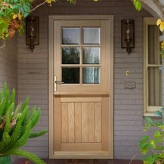 Image of Stable 6 Pane Oak Door with Bevel Edged Clear Double Glazing