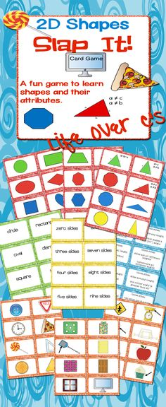 """2D Shape """"Slap-It!"""" a """"Slap Jack"""" style game for reviewing 2 dimensional shapes. This can be differentiated for Pre-K through 6th grade with the included suggestions. Simple shapes, such as heart/diamond and Complex shapes, such as scalene triangle/dodecagon. Some """"real life"""" examples included. $"""