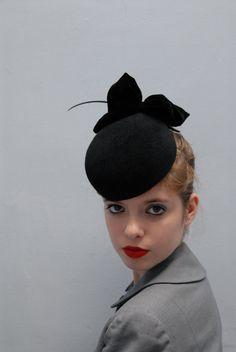 bd37c351e61 The Black Apple - Pillbox Hat - Sculpted Fur Felt Hat w  Black Quill   Silk  Velvet Bow - Winter Races - Bespoke Millinery