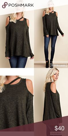 All the Rage Cold shoulder tops are all the rage right now and olive is the color of the season. Win win. My new favorite top. Super comfy and stylish. 50% rayon, 46% polyester, 4% spandex. Made in USA. Price is firm. No trades or pp. Tops