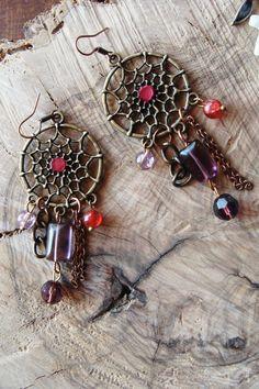 Σκουλαρικια Ονειροπαγιδα μπρονζε με κρυσταλλακια Dream Catcher, Charmed, Bracelets, Accessories, Jewelry, Decor, Dreamcatchers, Jewlery, Decoration