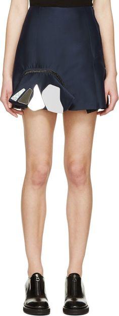 Toga: Navy Mirrored Ruffle Skirt