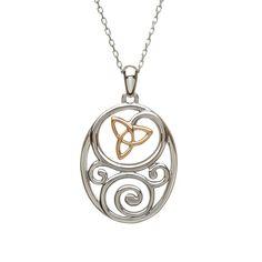 Celtic Pendant with Trinity Knot #houseoflor #irishjewelry #irishgold #pendant #sterlingsilver #rosegold #trinityknot #celticjewelry