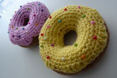 FREE Crocheted Sprinkly Donuts Crochet Pattern and Tutorial by The Adventures of the Gingerbread Lady