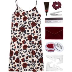 Floral Shift Dress by amazing-abby on Polyvore featuring moda, Dr. Martens, Rebecca Minkoff, Wild Pair, Obsessive Compulsive Cosmetics and Paul Frank