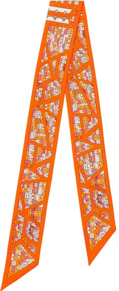Rive Droite Rive Gauche Hermes silk twilly, 32'' x 2'' Color : orange/sunny yellow/brown Ref. : H062868S 01