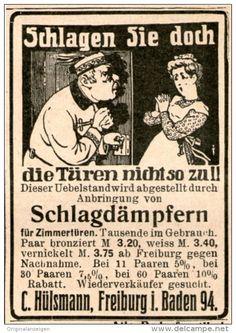 Werbung - Original-Werbung/Inserat/ Anzeige 1909 - SCHLAGDÄMPFER FÜR TÜREN/HÜLSMANN FREIBURG - ca. 45 x 55 mm